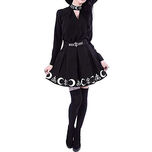 MILIMIEYIK Women Gothic Witchcraft Moon Magic Spell Symbols Pleated Mini Skirt Black]()