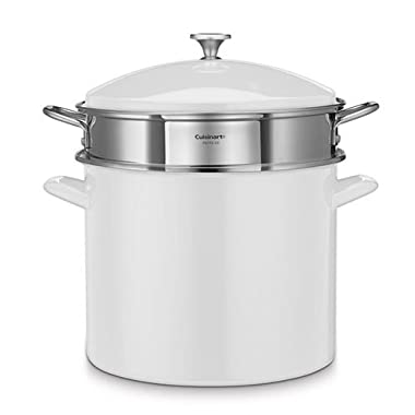 Cuisinart Chef's Classic Enamel on Steel 20-Quart Stockpot with Steamer Basket and Cover (White)