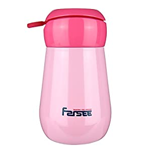 FARSEE Double Wall Vacuum Insulated Stainless Steel Water Bottle For Kids,Ladies,With Loop,Small Size,8oz,Pink