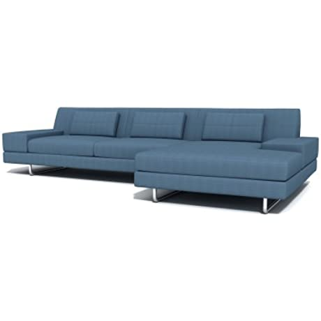 TrueModern Hamlin Fabric Sofa With Chaise Metal Finish Left Facing 130 Charcoal