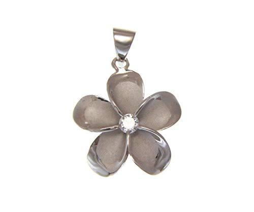 (925 solid sterling silver rhodium plated Hawaiian 24mm plumeria flower cz pendant)