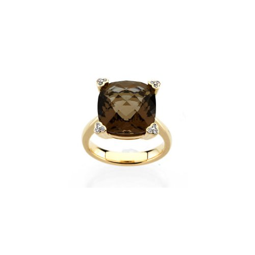 14kt Yellow Checkerboard Smoky Quartz & .05 CTW Diamond (Diamond Smoky Ring)