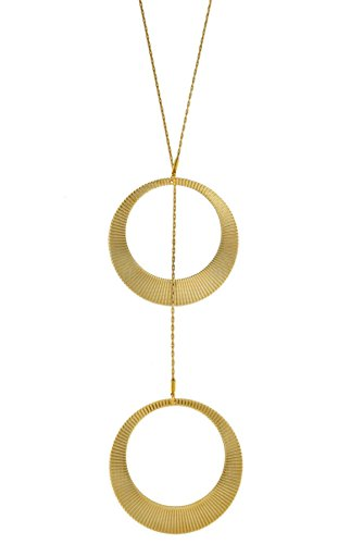 Hagar Satat Lariat Goldtone Chain with Large Ribbed Open Circle Design Pendant Necklace