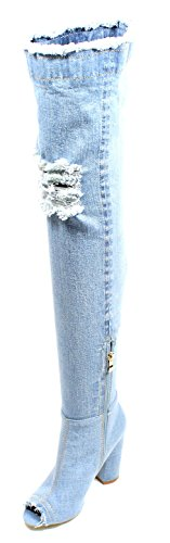 Talons Des Chaussures Des Femmes Urbaines Una-01s Sur Le Genou Cuisse Bottes Talon Bloc Haut Denim Blue_denim