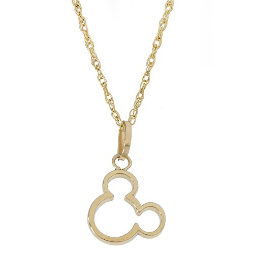 Disney Women's and Girls Jewelry Mickey Mouse 14k Yellow Gold Pendant Necklace,18