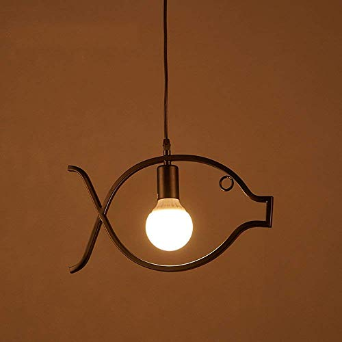 PLLP Chandelier-Small Fish Chandelier Retro Nostalgic Personality Black Light Be Applicable Coffee Shop Clothing Store Balcony Corridor Restaurant]()