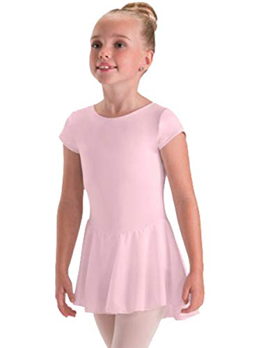Motionwear Black Cap Sleeve Sheer Skirted Leotard (Child X Small, Pink)