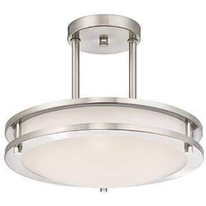 Light Blue™ LED Semi Flush Mount Ceiling Fixture, Antique Brushed Nickel Finish, 4000K Cool White, 1050 Lumens, Dimmable