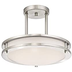 LB72131 LED Semi Flush Mount Ceiling Fixture, Antique Brushed Nickel Finish, 4000K Cool White, 1050 Lumens, Dimmable