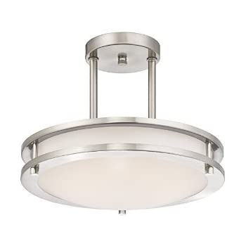 modern flush mount lighting canada led kitchen semi ceiling fixture antique brushed nickel finish cool white light cover