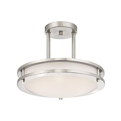 LB72131 LED Semi Flush Mount Ceiling Fixture, Antique Brushed Nickel Finish, 4000K Cool White, 1200 Lumens, Dimmable - 12-Inch diameter; 9-Inchs high Double Ring Ceiling Designed Pandent Light, Only Uses 15-Watts, 4000K Cool White, 1200 Lumen Output, 120VAC This contemporary Semi flush mount LED ceiling light has a brushed nickel finish and offers energy efficient LEDs Ideal for hallways, bedrooms, offices, stairways and many more commercial or residential applications - kitchen-dining-room-decor, kitchen-dining-room, chandeliers-lighting - 31b3GlFehfL. SS400  -
