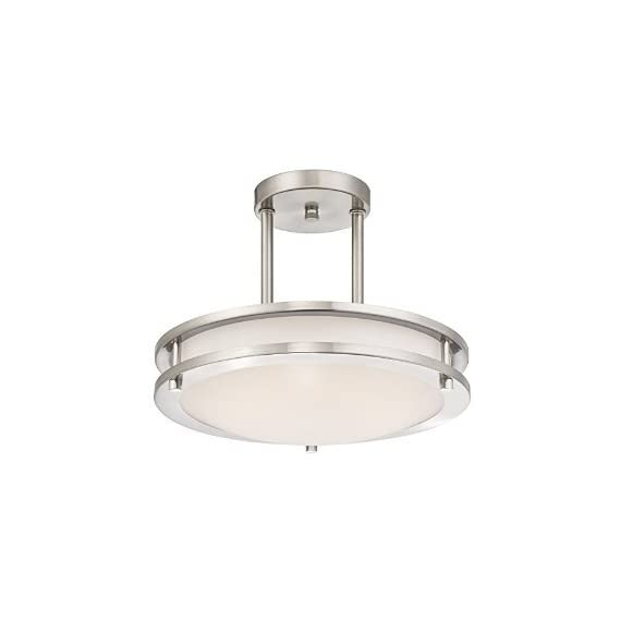 LB72131 LED Semi Flush Mount Ceiling Fixture, Antique Brushed Nickel Finish, 4000K Cool White, 1200 Lumens, Dimmable - 12-Inch diameter; 9-Inchs high Double Ring Ceiling Designed Pandent Light, Only Uses 15-Watts, 4000K Cool White, 1200 Lumen Output, 120VAC This contemporary Semi flush mount LED ceiling light has a brushed nickel finish and offers energy efficient LEDs Ideal for hallways, bedrooms, offices, stairways and many more commercial or residential applications - kitchen-dining-room-decor, kitchen-dining-room, chandeliers-lighting - 31b3GlFehfL. SS570  -