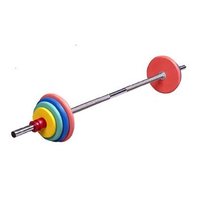 50 Lb Colored Weight Set w/ Bar & 1