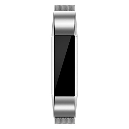 8.5' Stainless Steel Bracelet (Fitbit Alta HR and Alta Bands Metal, HANYI Milanese Loop Stainless Steel Bracelet Smart Watch Strap with Unique Magnet Lock for Fitbit Alta Replacement Wristbands (Silver))