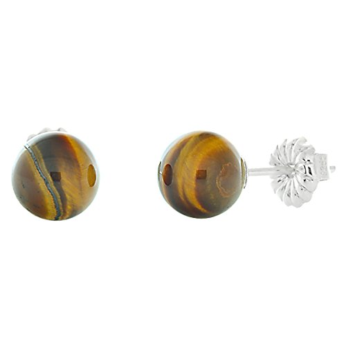 Trustmark 925 Sterling Silver 6mm Natural Brown Tigers Eye Ball Stud Post Earrings ()