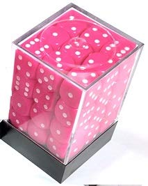 Chessex: d6 12mm 不透明36ダイスセット:ピンクとホワイト