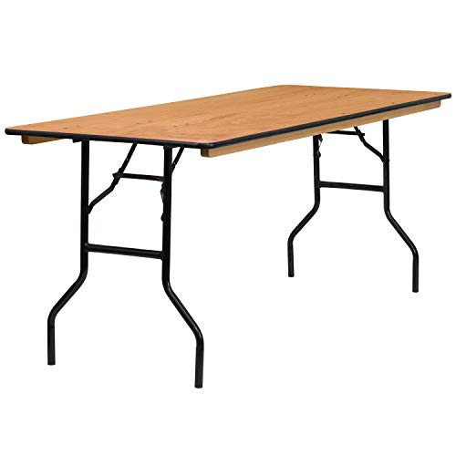 Flash Furniture 30'' x 72'' Rectangular Wood Folding Banquet Table with Clear Coated Finished Top ()
