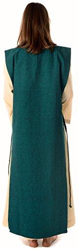Mittelalter mit XL mit Kleid Damen reine Baumwolle HEMAD Beige Grün S naturbeige Skapulier Leinenstruktur 5wI4gCCxq