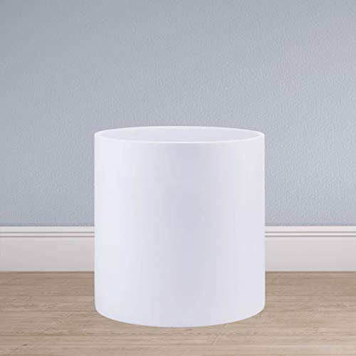 Indoor 8 Inches Round Modern Planter Pot - Matte White - Easy Grow Fiberglass Resin Planter with Drainage Hole and Plug - by D'vine Dev (Planter Fiberglass Flower)