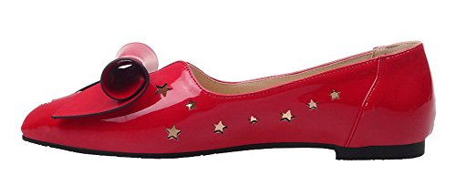 AmoonyFashion Womens Low-Heels Pointed-Toe Patent Leather Solid Pumps-Shoes Red liiBlc