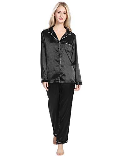 5e3e80583e AMONIDA Silk Satin Pajamas Set for Women Button Up Long Sleeve Sleepwear