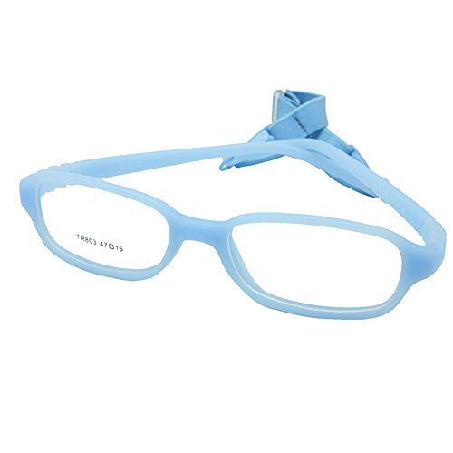 - EnzoDate Kids Optical Glasses Frame Size 47-16-120 with Cord, No Screw Bendable (blue)