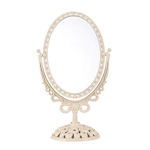 DLINMEI Tabletop Vanity Makeup Mirror with 3X Magnification, Two Sided ABS Decorative Framed European for Bathroom Bedroom Dressing -