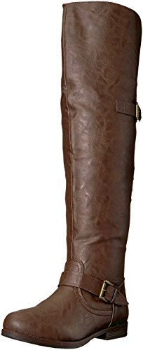 Brinley Co Kvinners Sukker Over Kneet Boot Brown