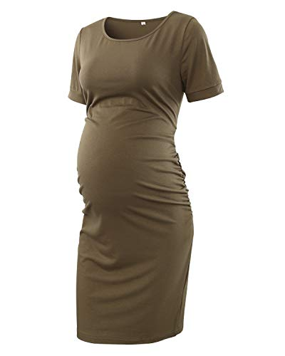 Neck Dresses Round Maternity (StrabElla Women's Ruched Maternity Bodycon Dress Round Neck Short Sleeve Dress)