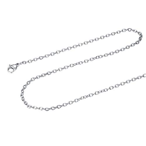 FOCALOOK Stainless Steel Rolo Chain 2MM Solid Silver Color Round Cable Chain Necklace,20