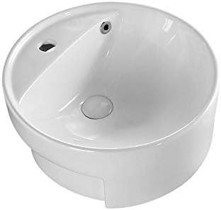 浴室台上盆 カウンターの上に埋め込まれた洗面化粧台洗面ボウル用洗面化粧台のキャビネットラウンドホワイト 和風 洋風 (Color : White, Size : 44x44x18cm)