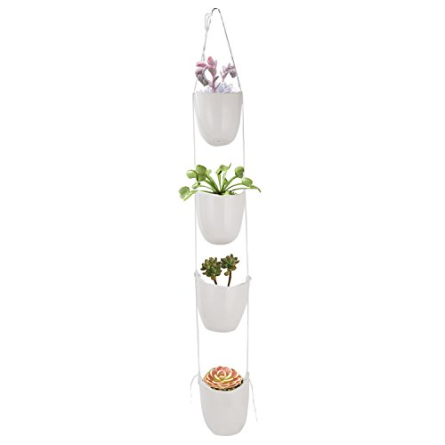 Decorative Ceramics Planter (Vencer Modern Ceramic (4 pack) Rope Hanging Planter,Succulent Plants Pots metope Decorative Display pots,White,VF-041)