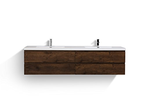 Riddle Double Wall Mounted Modern Bathroom Vanity (84'', Rosewood)