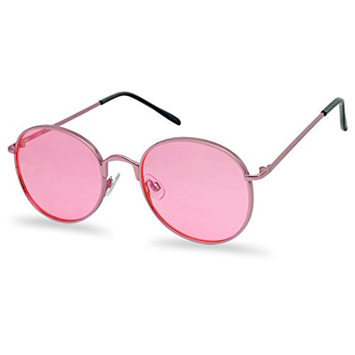 87c0f0c51c SunglassUP - Colorful Classic Vintage Round Flat Lens Lennon Style  Sunglasses (Pink