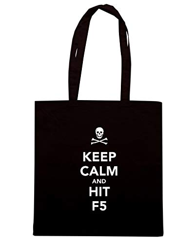 Speed Shirt Borsa Shopper Nera TKC0257 KEEP CALM AND HIT F5