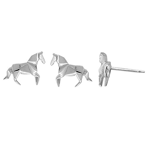 Boma Sterling Silver Origami Horse Stud Earrings