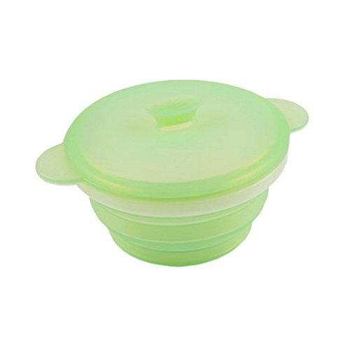 (PANDA SUPERSTORE Durable Silicone Collapsible Travel Camping Bowl Outdoor Bowl(680ml,Light-Green))