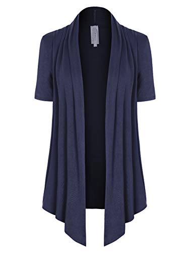 MixMatchy Women's [Made in USA] Solid Jersey Knit Short Sleeve Open Front Draped Cardigan (S-3XL) Navy Blue L