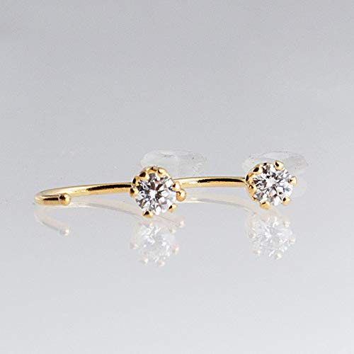 14K Gold Filled Open Hoop Hugger Hugging Earrings 3mm Small Cubic Zirconia Stone GF-D9-6PR-20GA-3MM-CZ