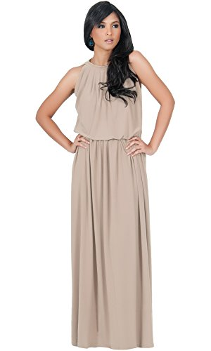 603690045a4 KOH KOH Plus Size Womens Long Sexy Sleeveless Bridesmaid Halter Neck  Wedding Party Guest Summer Flowy Casual Brides Formal Evening A-line Gown  Gowns Maxi ...