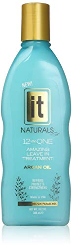 IT Naturals 12-in-ONE Amazing Leave In Treatment with Argan Oil, 10.2oz   Repairs, Protects & Strengthen Hairs   Protects from Split Ends and Breakage   Improves Hair Texture   Paraben Free