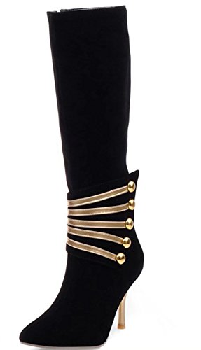 KingRover Women's Casual High Heel Stiletto Rouched Pull On Knee Long Ladies Slouch Mid Calf Boots Size 1-11 2black WxWp8Z