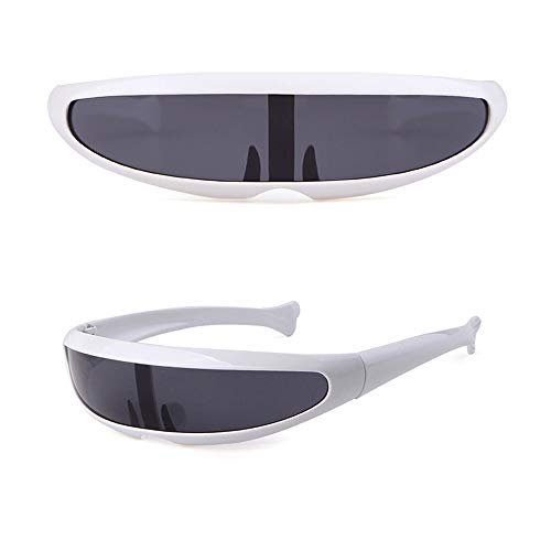- Zoint Futuristic Narrow Cyclops Sunglasses UV400 Personality Mirrored Lens Visor Cosplay Sunglasses (White)