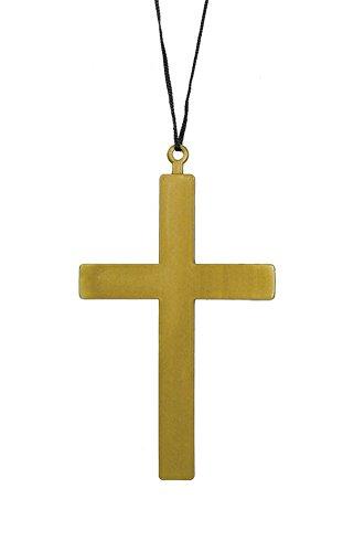 Giant Gold Plastic Monk Priest Cross Crucifix -