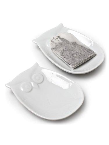 Set 6 Pieces White Porcelain Figural Owl Teabag Tea Bag Holder Plate Dish
