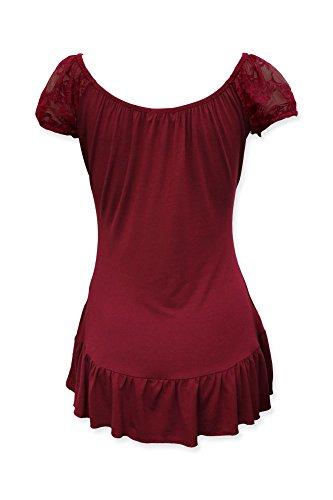 blouse top Bordeaux dentelle Mesdames BlackButterfly gitane wFCR6qIq