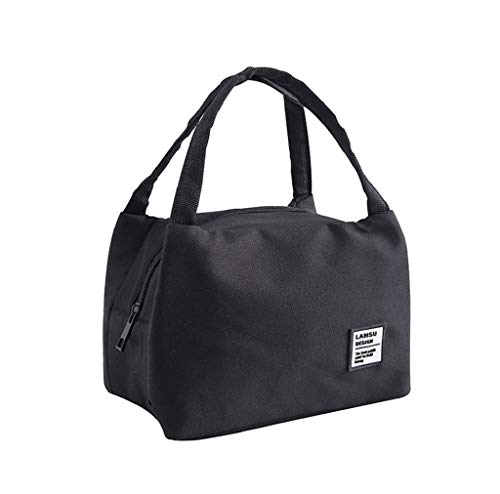 acction Simple Black or White Solid Fashion Portable Insulated Canvas Box Tote Bag Picnic Lunch Bags ()