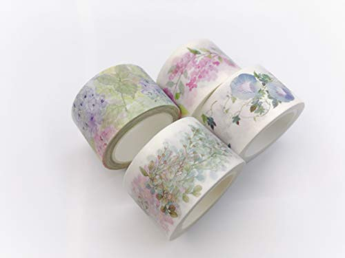 Decoupage Frame - Wisteria and Hydrangea Print washi Tape Set of 4 Rolls. Extra Long Tape! Light Purple, Pink and Blue Flowers. for scrapbooks, Gift wrap, decoupage, Crafts and Decorating
