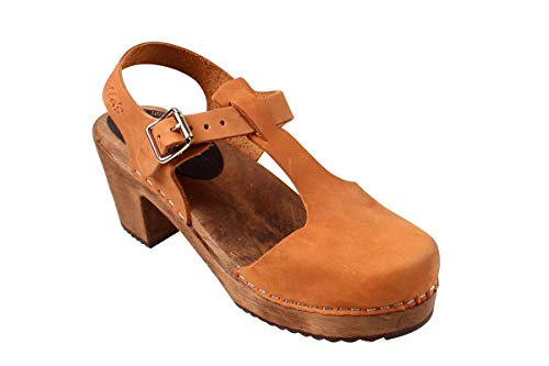 Lotta From Stockholm Swedish Highwood T-Bar Clogs in Brown Oiled on Brown Base- 39 -
