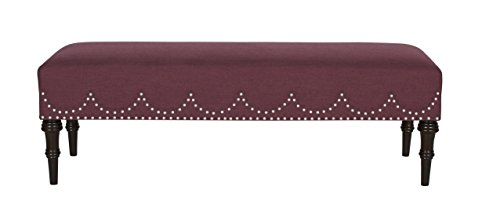 Jennifer Taylor Home, Entryway Bench, Oxblood Red, Hand-Applied Nailheads, Hand Painted and Hand Rub Finished Legs